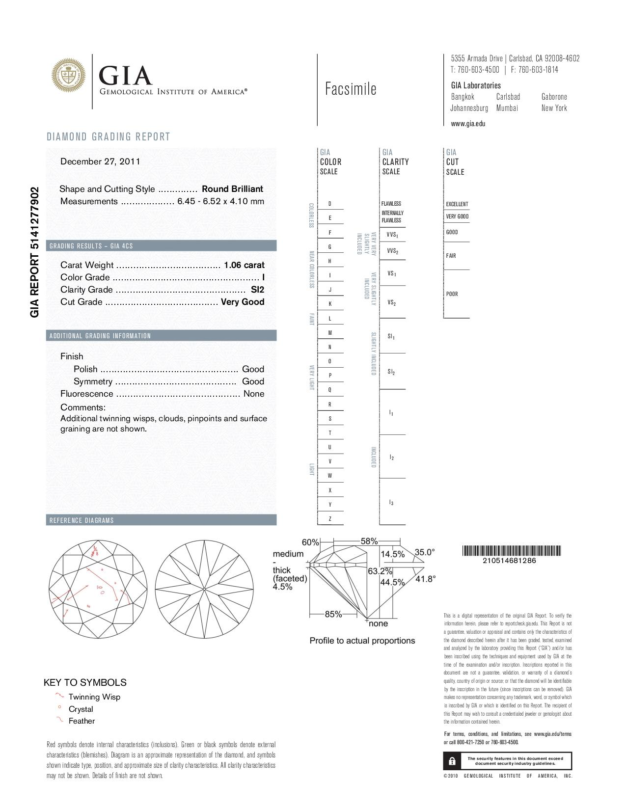 This is a 1.06 carat round shape, I color, SI2 clarity natural diamond accompanied by a GIA grading report.