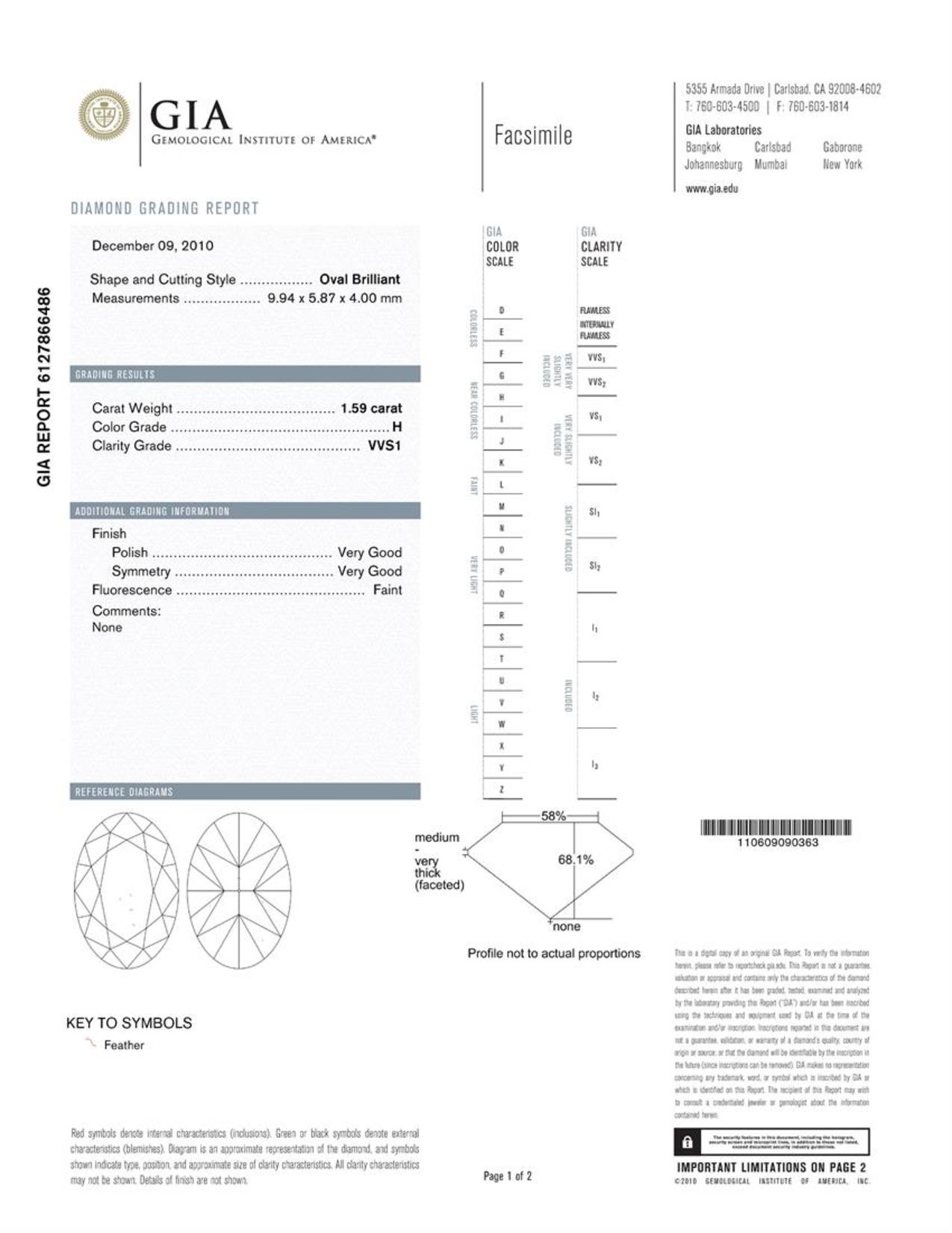This is a 1.59 carat oval shape, H color, VVS1 clarity natural diamond accompanied by a GIA grading report.