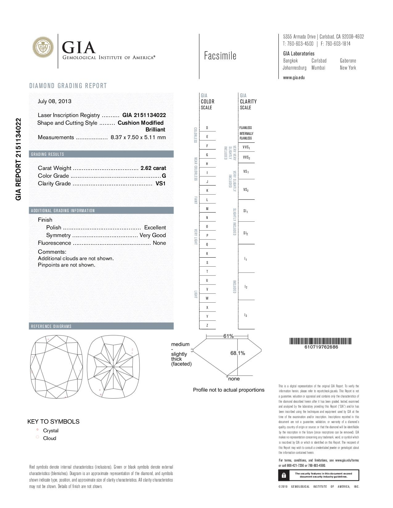 This is a 2.62 carat cushion shape, G color, VS1 clarity natural diamond accompanied by a GIA grading report.