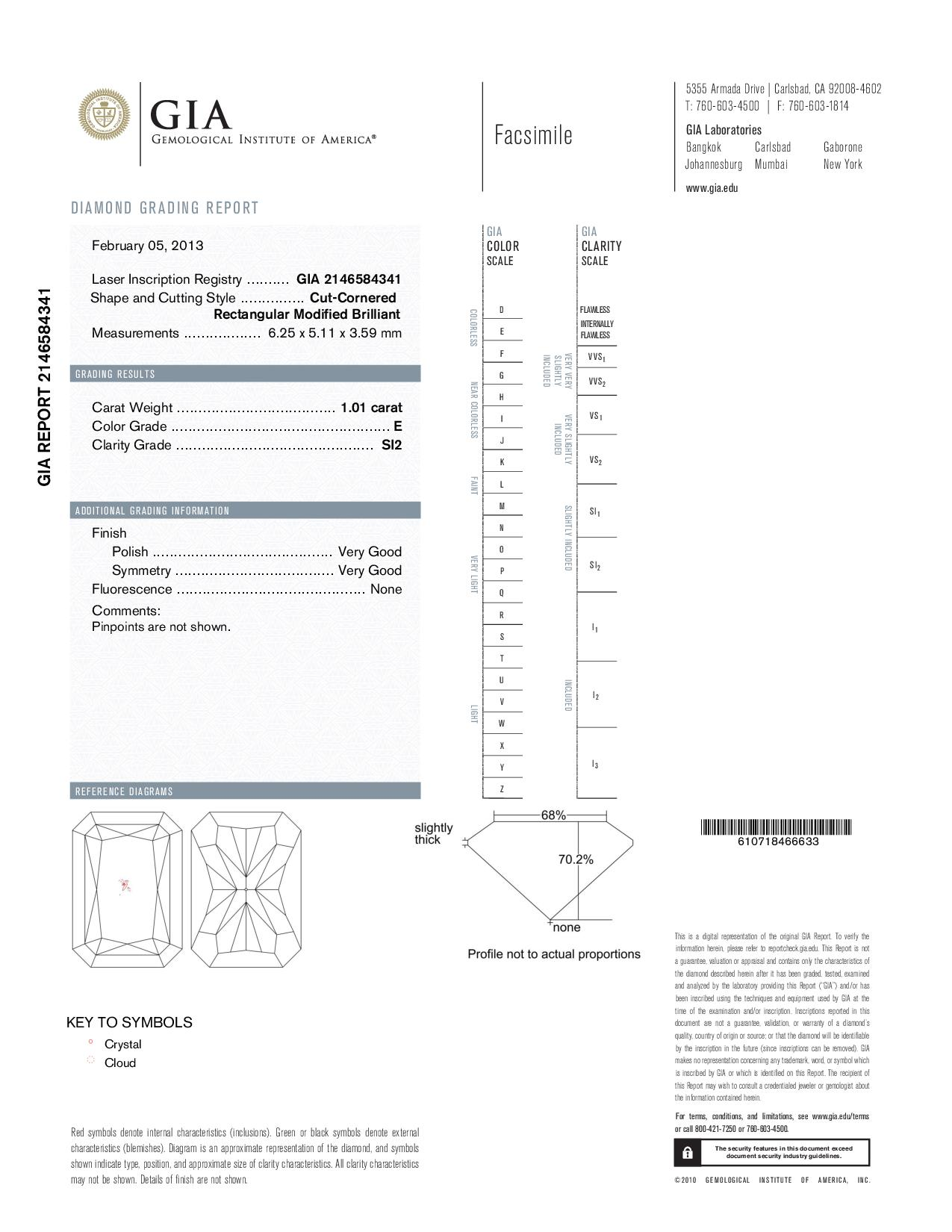 This is a 1.01 carat radiant shape, E color, SI2 clarity natural diamond accompanied by a GIA grading report.