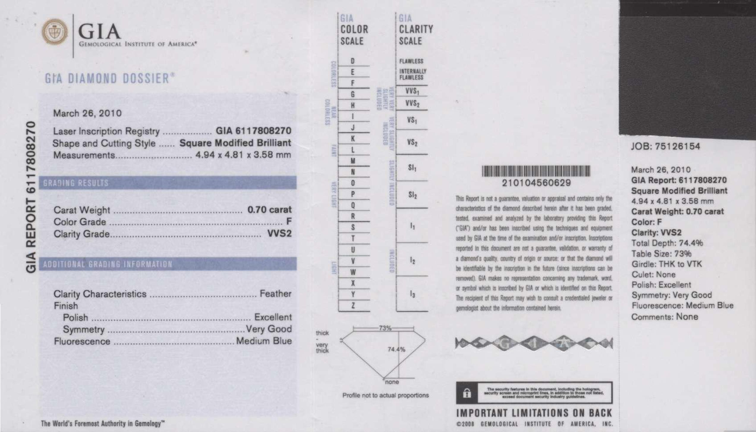 This is a 0.70 carat princess shape, F color, VVS2 clarity natural diamond accompanied by a GIA grading report.