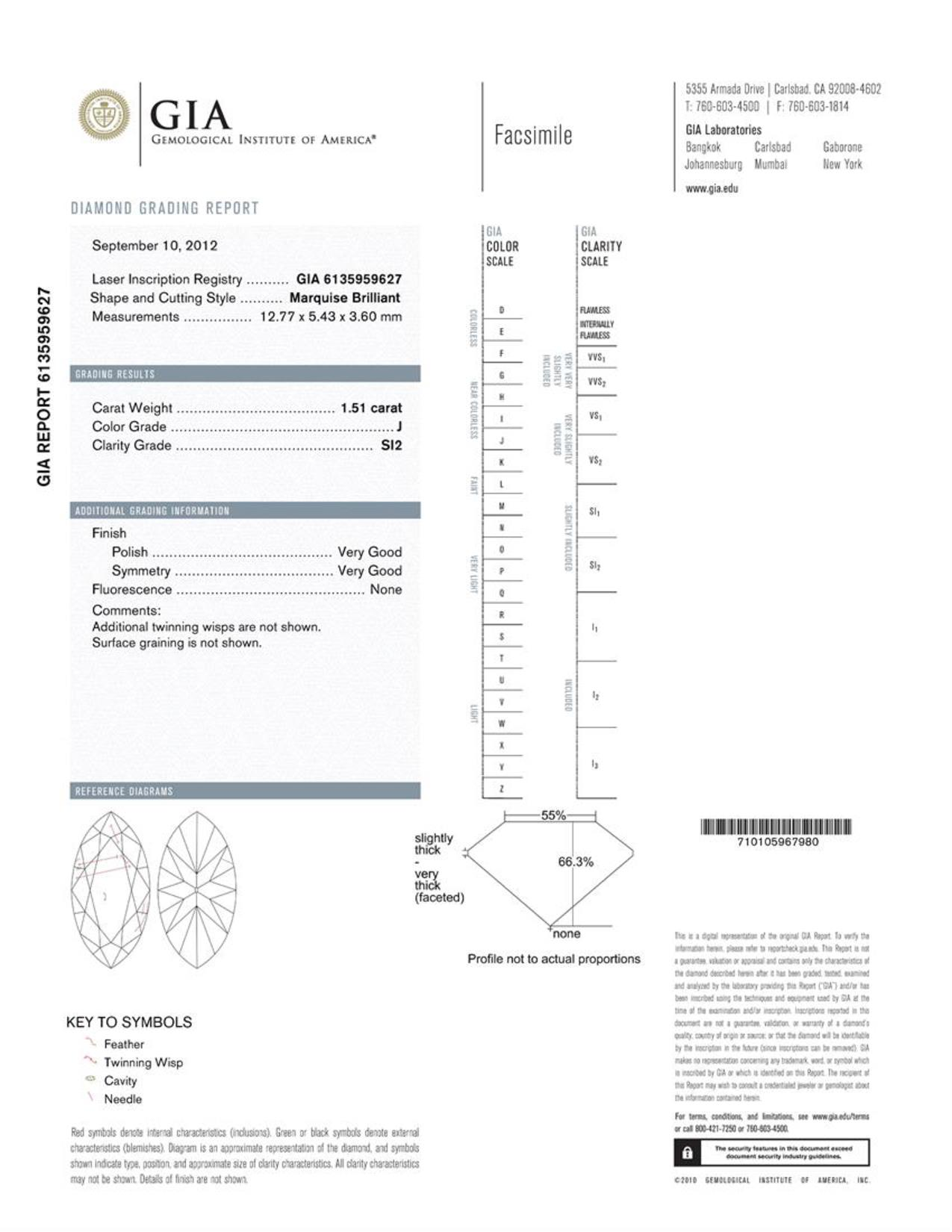 This is a 1.51 carat marquise shape, J color, SI2 clarity natural diamond accompanied by a GIA grading report.