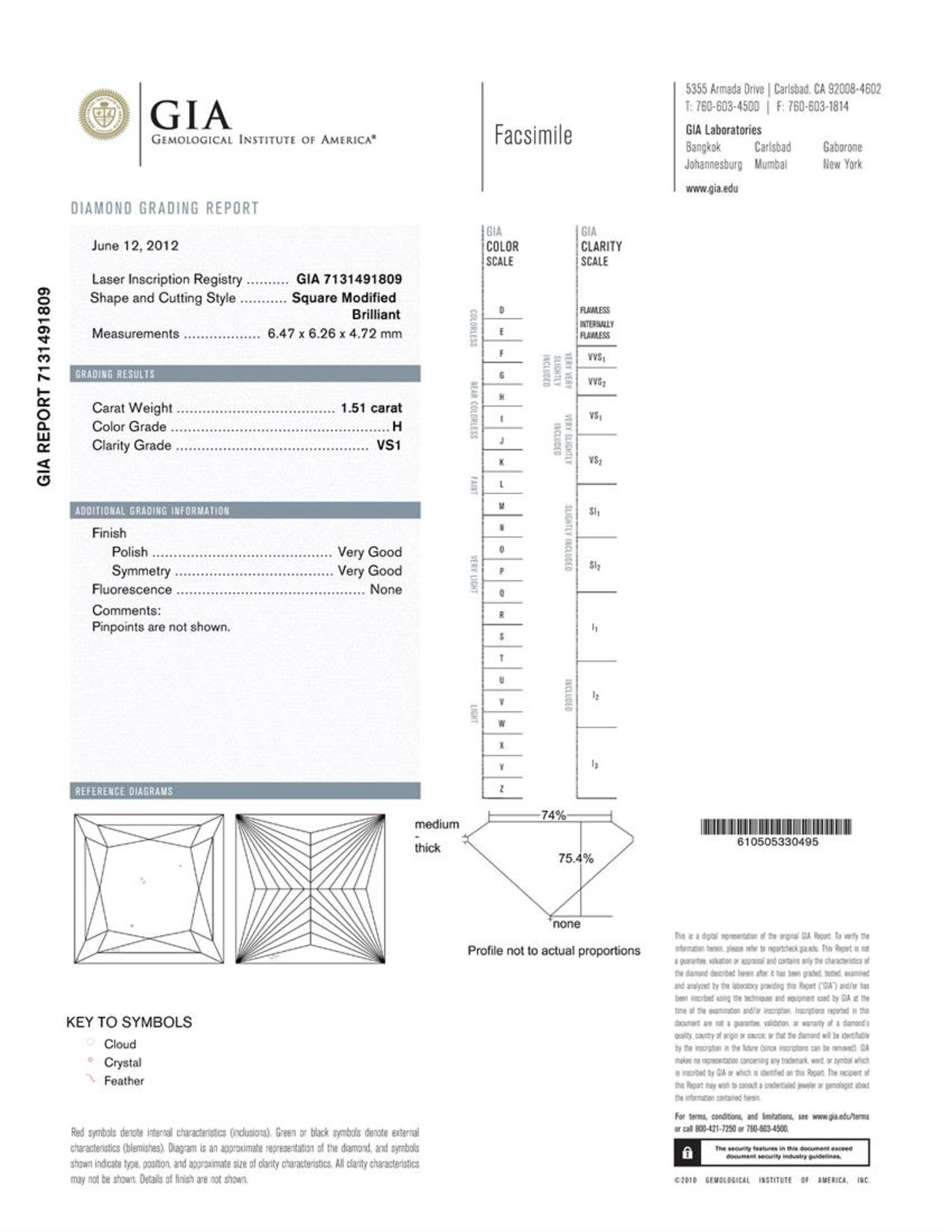 This is a 1.51 carat princess shape, H color, VS1 clarity natural diamond accompanied by a GIA grading report.