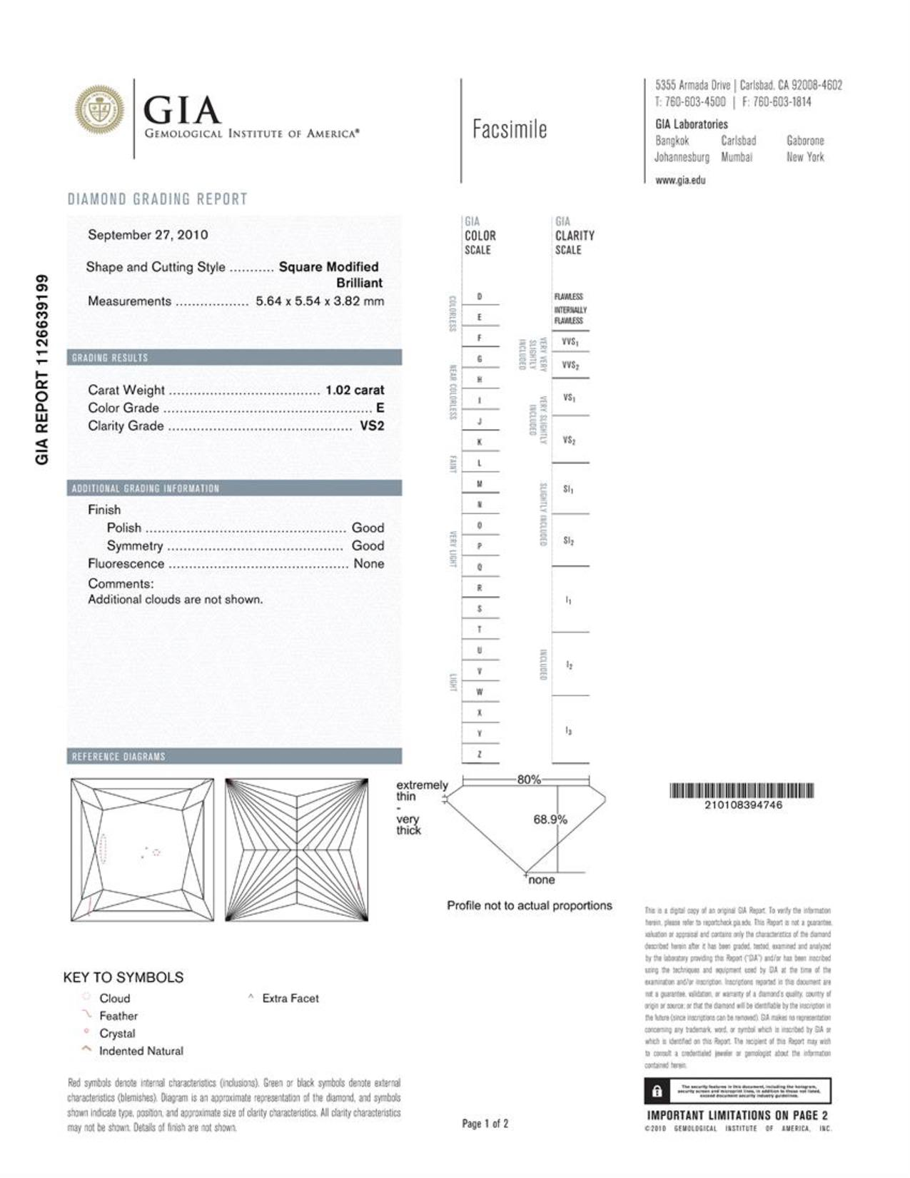 This is a 1.02 carat princess shape, E color, VS2 clarity natural diamond accompanied by a GIA grading report.