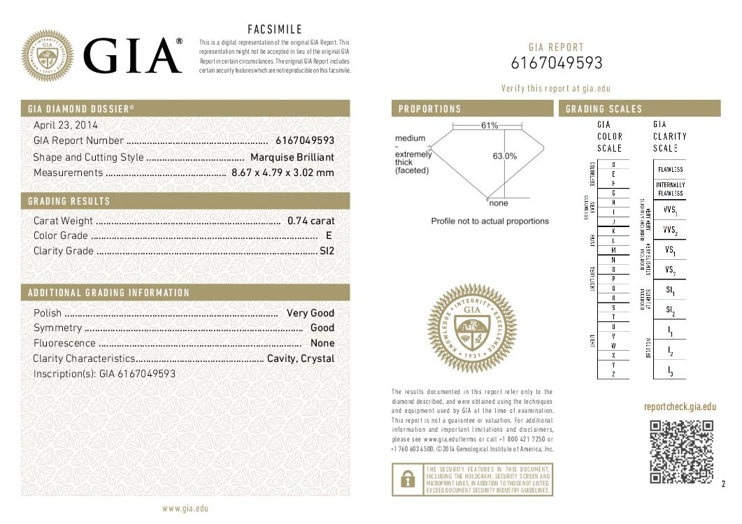 This is a 0.74 carat marquise shape, E color, SI2 clarity natural diamond accompanied by a GIA grading report.
