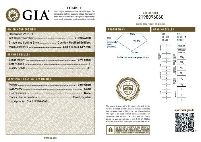 This is a 0.91 carat cushion shape, I color, SI1 clarity natural diamond accompanied by a GIA grading report.
