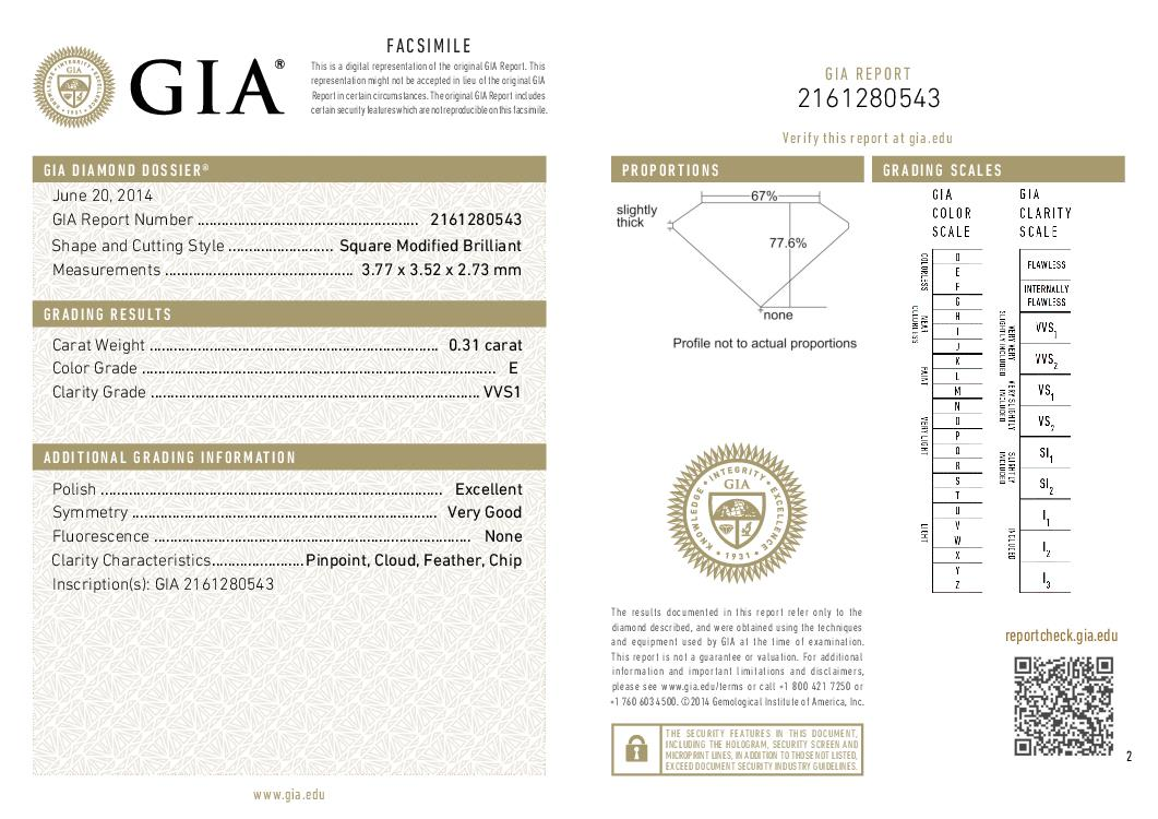 This is a 0.31 carat princess shape, E color, VVS1 clarity natural diamond accompanied by a GIA grading report.