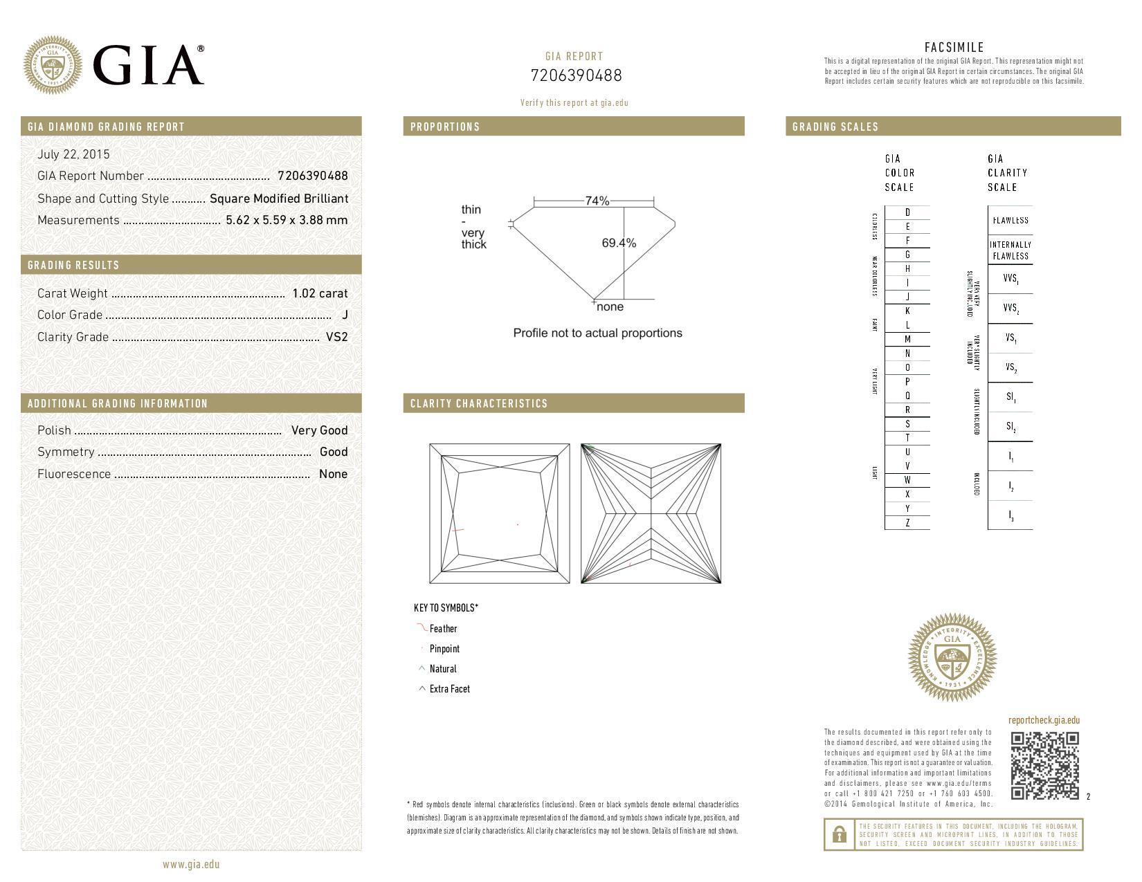 This is a 1.02 carat princess shape, J color, VS2 clarity natural diamond accompanied by a GIA grading report.