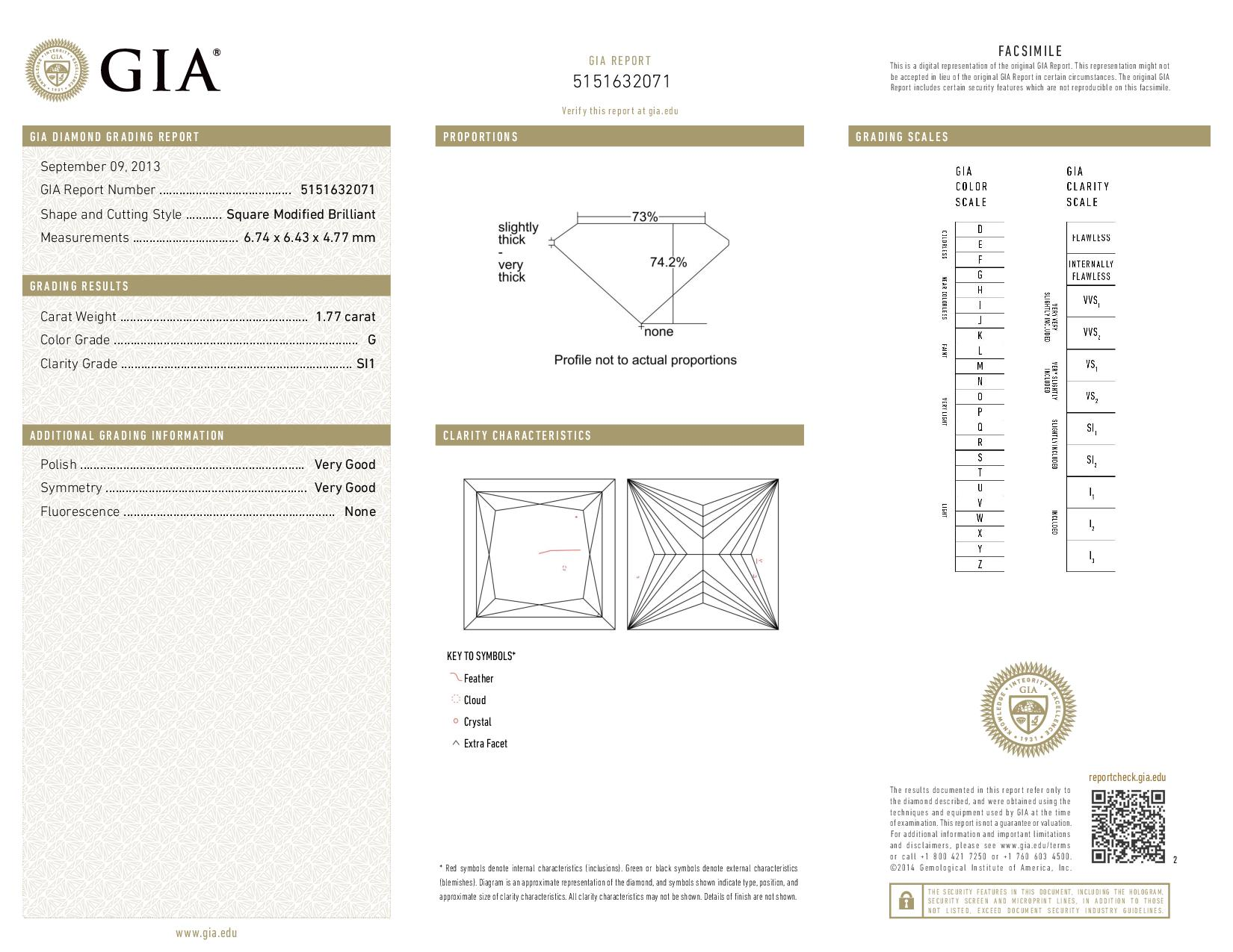 This is a 1.77 carat princess shape, G color, SI1 clarity natural diamond accompanied by a GIA grading report.