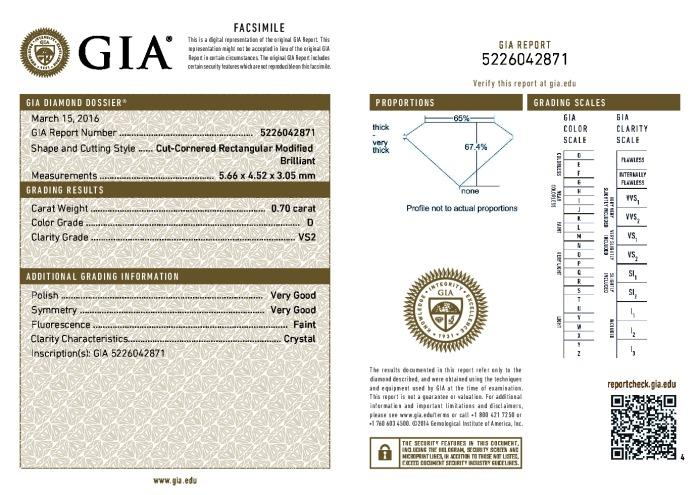 This is a 0.70 carat radiant shape, D color, VS2 clarity natural diamond accompanied by a GIA grading report.