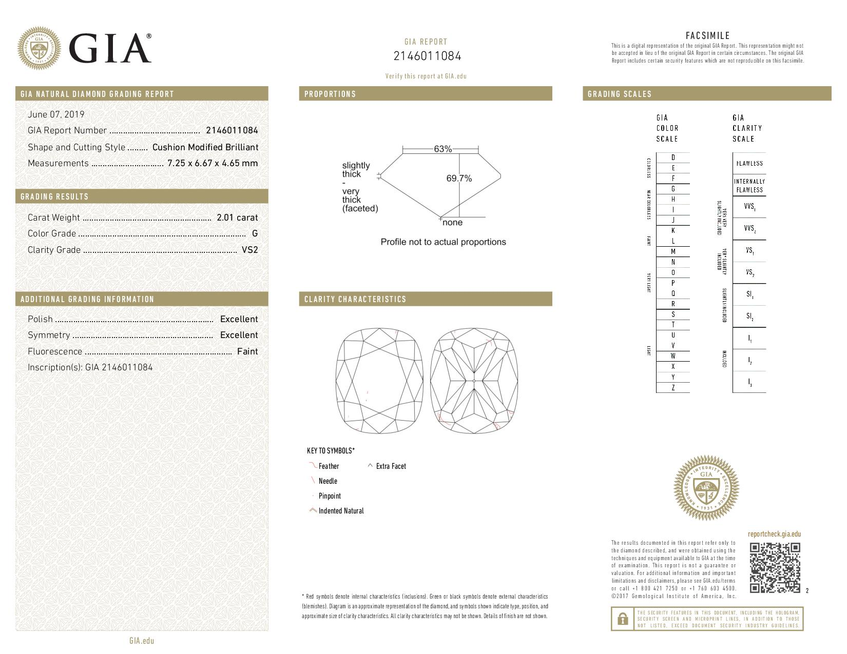 This is a 2.01 carat cushion shape, G color, VS2 clarity natural diamond accompanied by a GIA grading report.