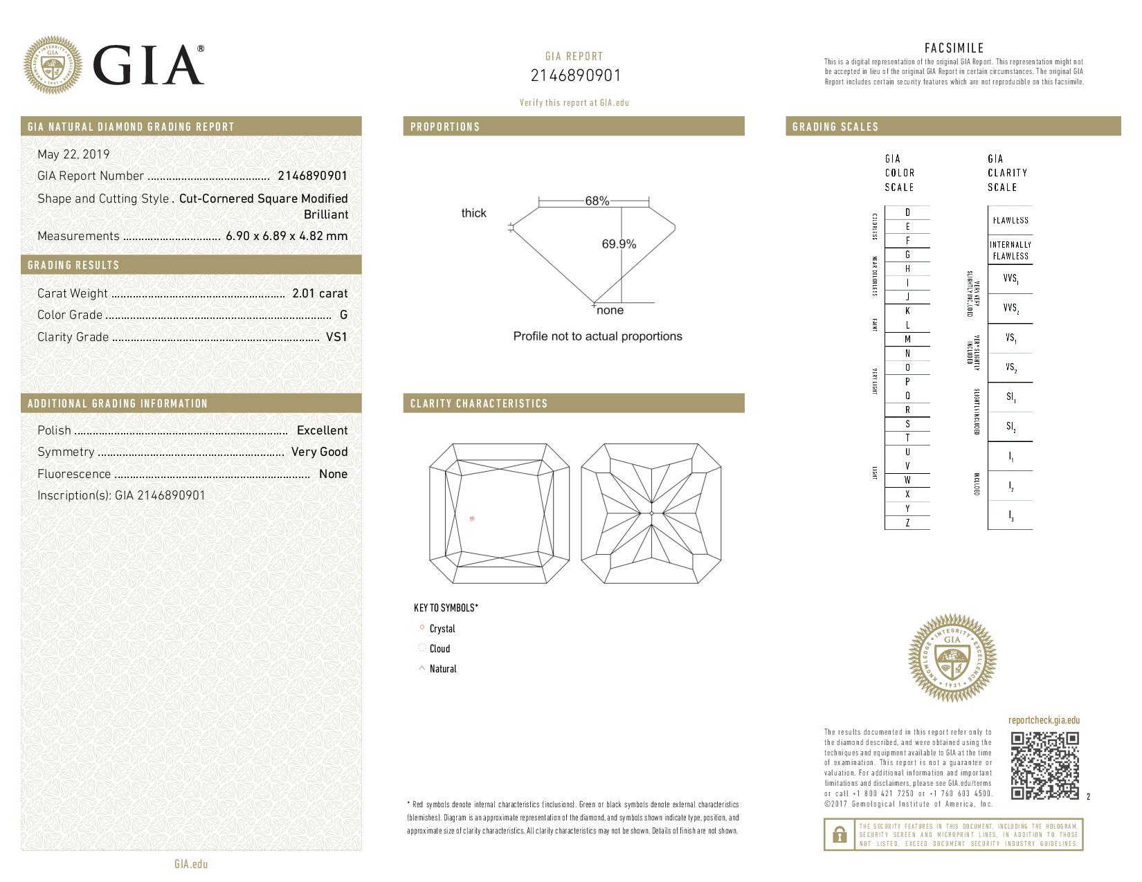 This is a 2.01 carat radiant shape, G color, VS1 clarity natural diamond accompanied by a GIA grading report.