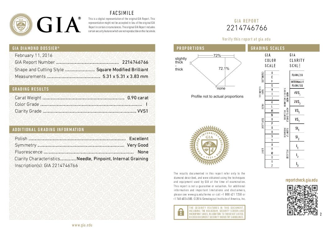 This is a 0.90 carat princess shape, I color, VVS1 clarity natural diamond accompanied by a GIA grading report.