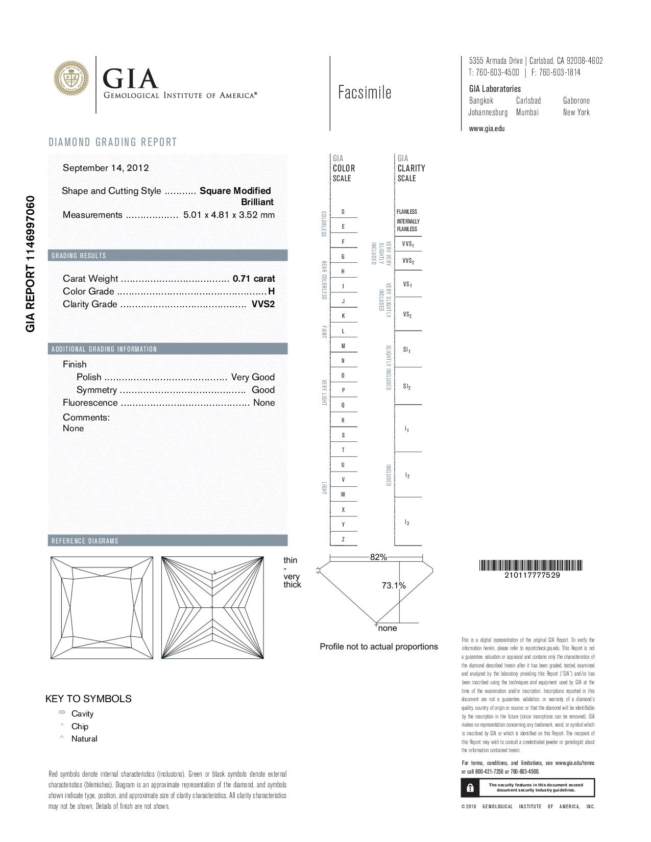 This is a 0.71 carat princess shape, H color, VVS2 clarity natural diamond accompanied by a GIA grading report.