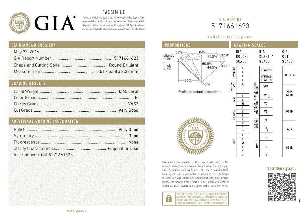 This is a 0.65 carat round shape, E color, VVS2 clarity natural diamond accompanied by a GIA grading report.