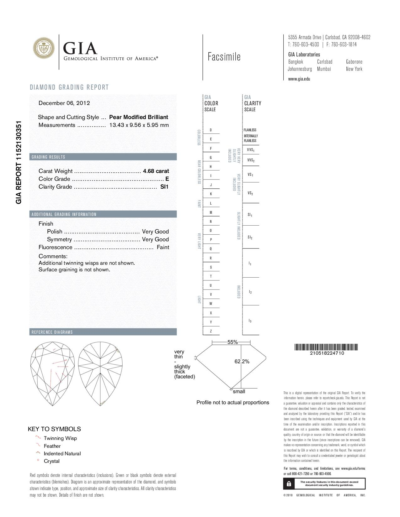 This is a 4.68 carat pear shape, E color, SI1 clarity natural diamond accompanied by a GIA grading report.