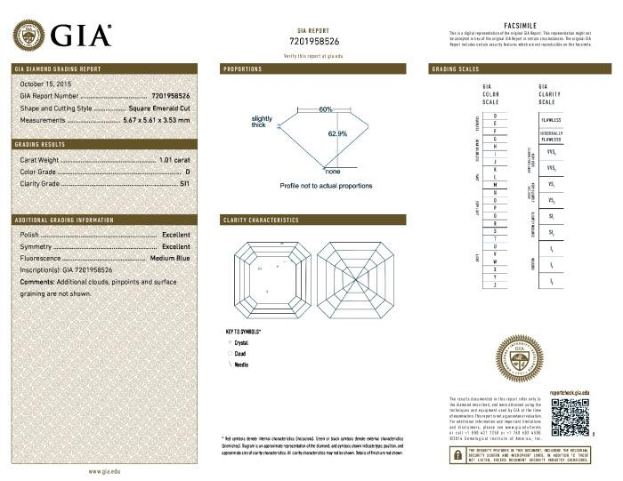 This is a 1.01 carat asscher shape, D color, SI1 clarity natural diamond accompanied by a GIA grading report.