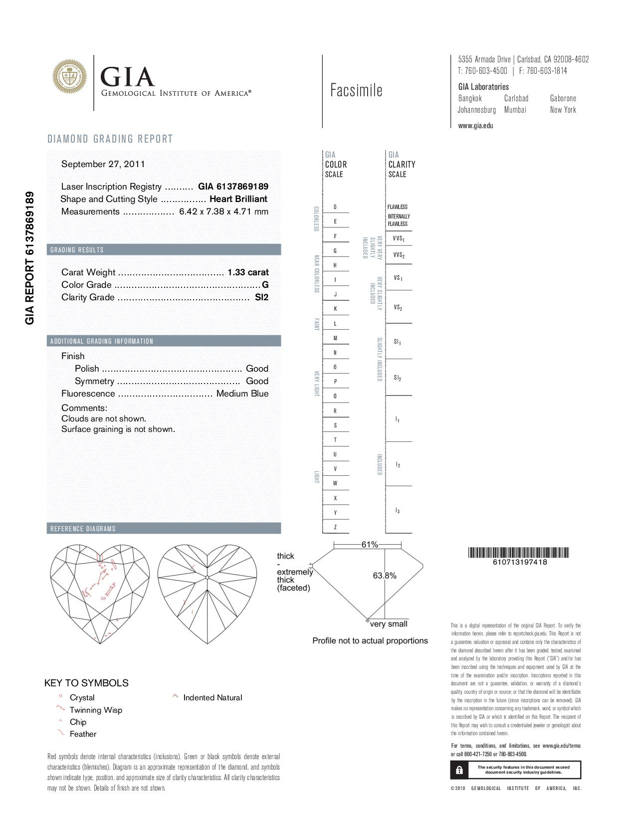 This is a 1.33 carat heart shape, G color, SI2 clarity natural diamond accompanied by a GIA grading report.