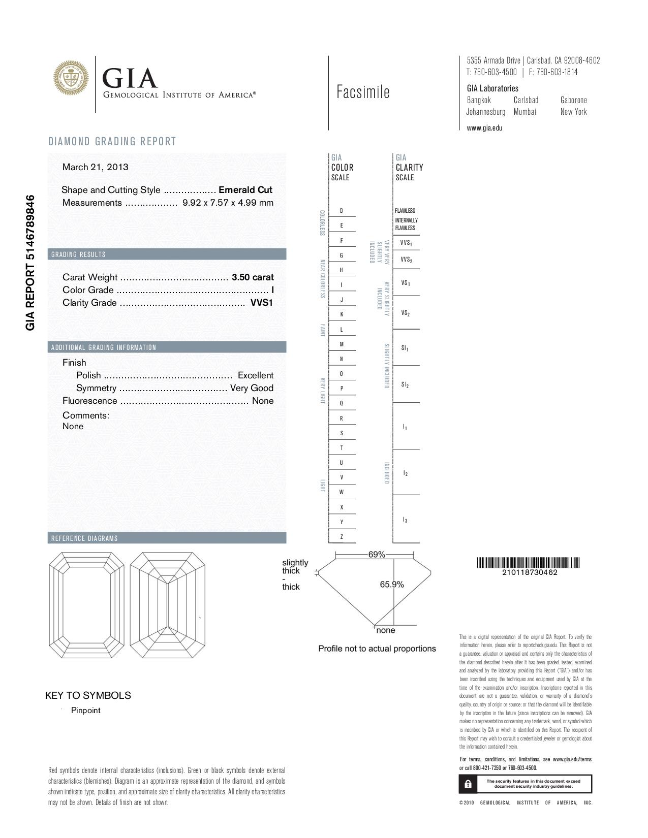 This is a 3.50 carat emerald shape, I color, VVS1 clarity natural diamond accompanied by a GIA grading report.