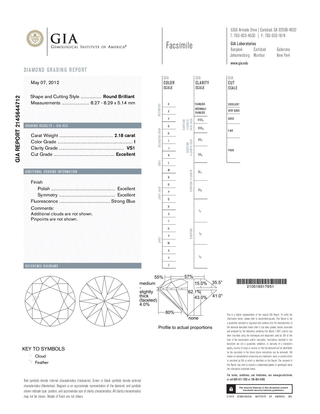This is a 2.18 carat round shape, I color, VS1 clarity natural diamond accompanied by a GIA grading report.
