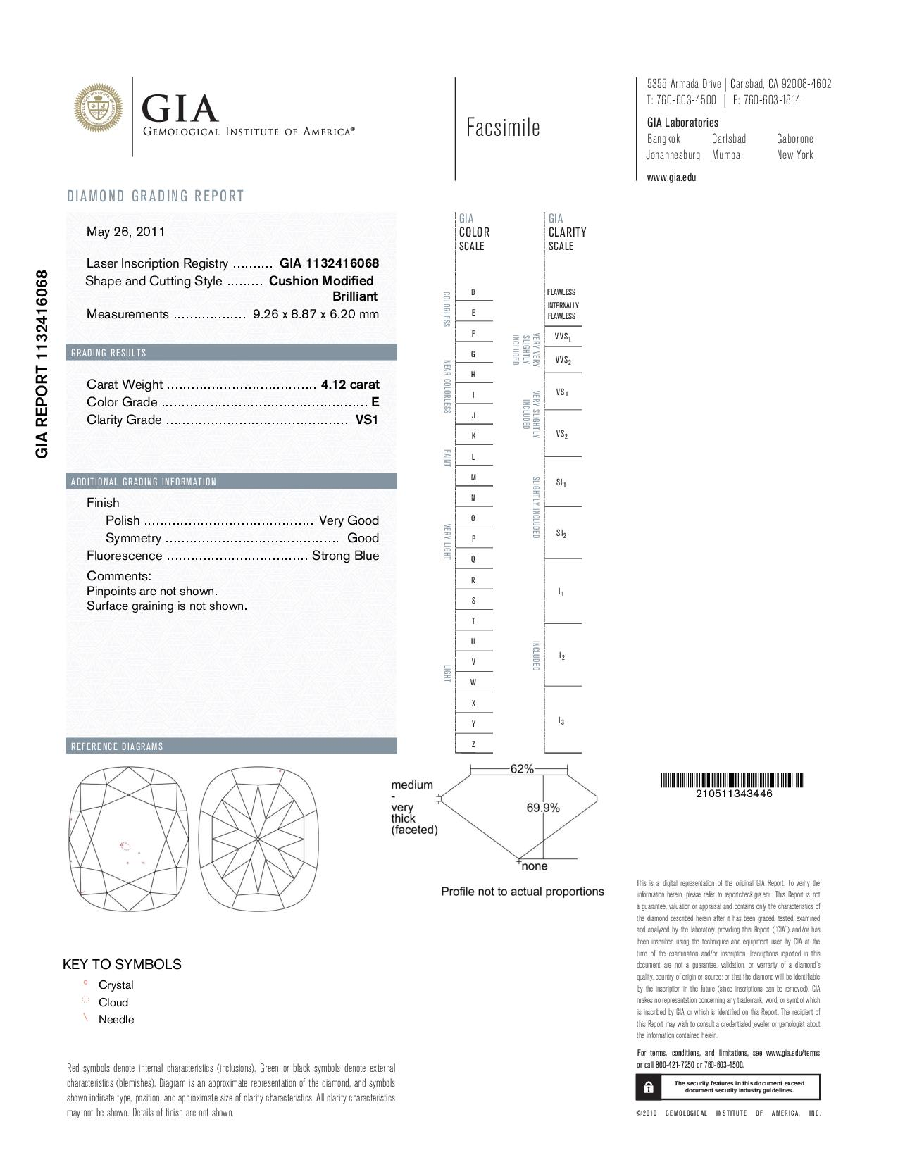 This is a 4.12 carat cushion shape, E color, VS1 clarity natural diamond accompanied by a GIA grading report.