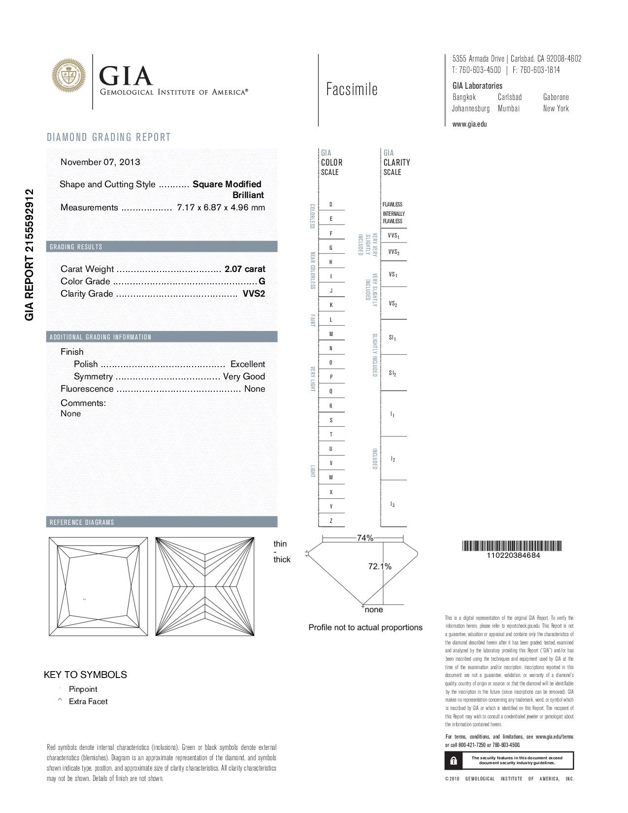 This is a 2.07 carat princess shape, G color, VVS2 clarity natural diamond accompanied by a GIA grading report.