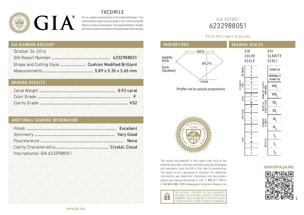 This is a 0.92 carat cushion shape, F color, VS2 clarity natural diamond accompanied by a GIA grading report.