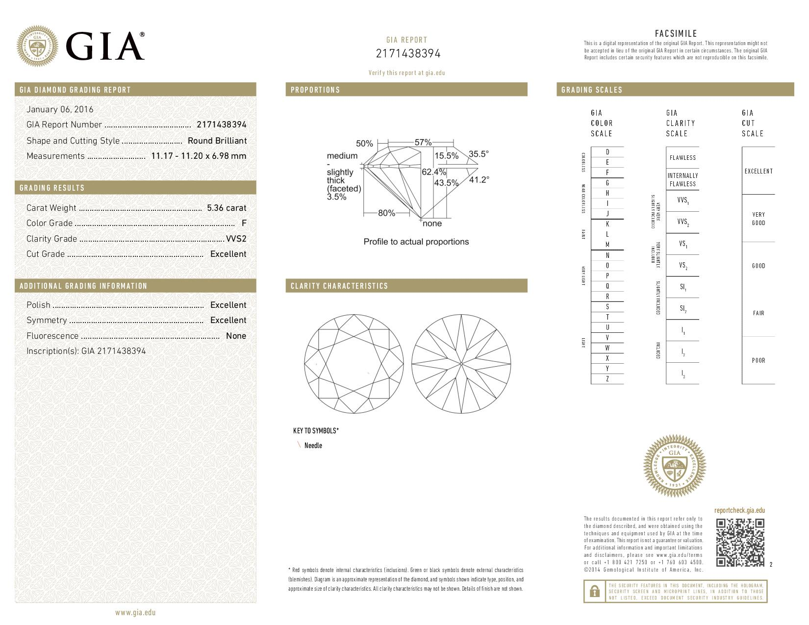 This is a 5.36 carat round shape, F color, VVS2 clarity natural diamond accompanied by a GIA grading report.