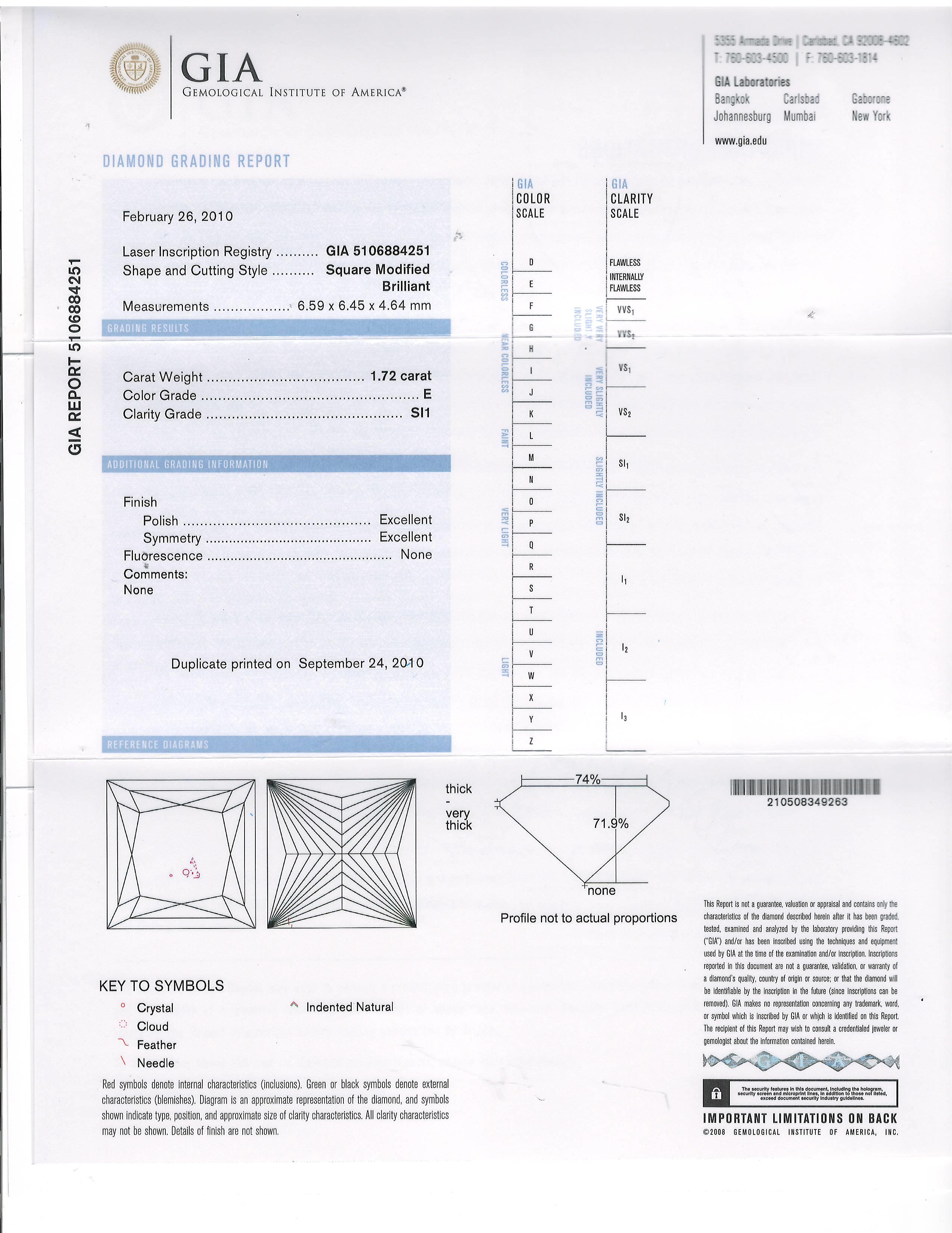 This is a 1.72 carat princess shape, E color, SI1 clarity natural diamond accompanied by a GIA grading report.