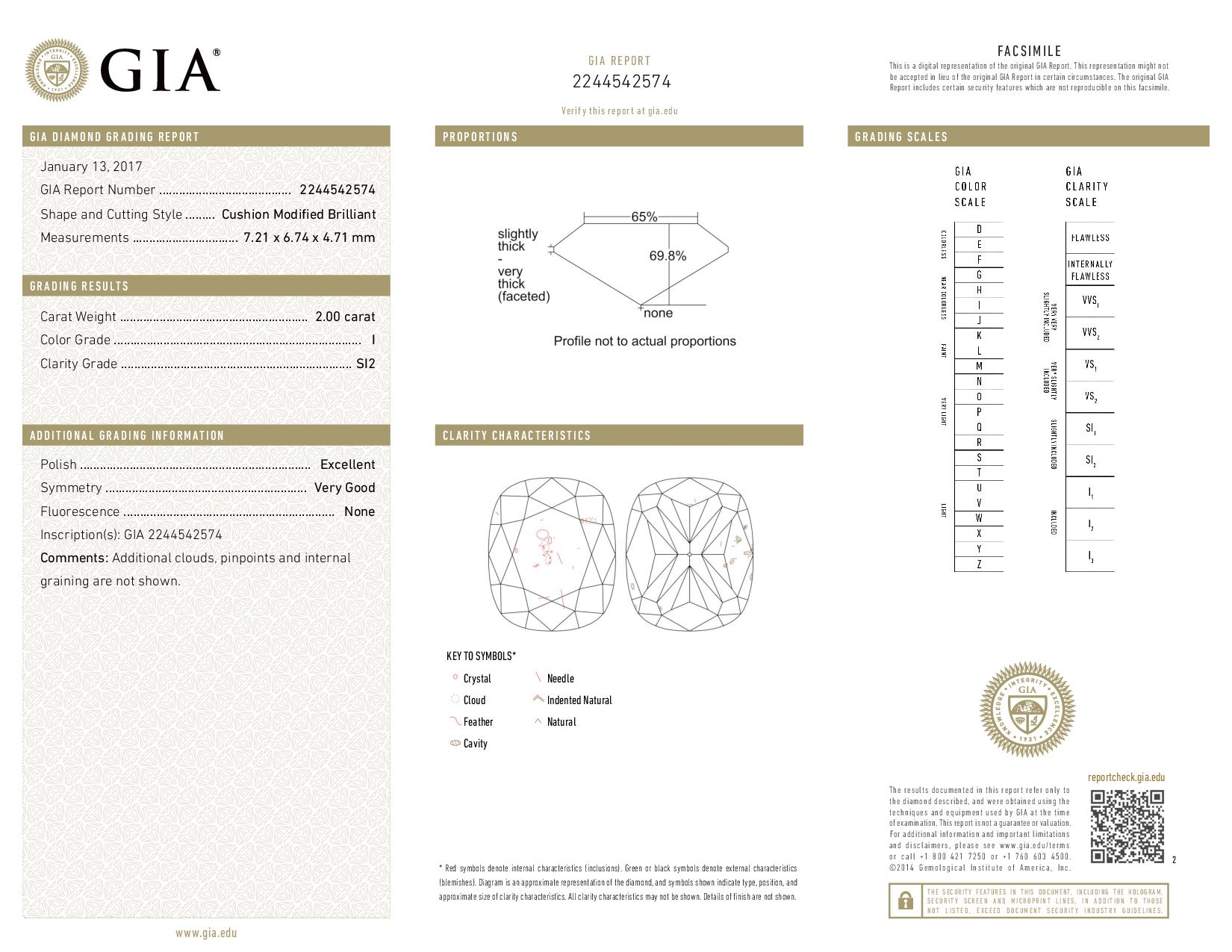This is a 2.00 carat cushion shape, I color, SI2 clarity natural diamond accompanied by a GIA grading report.