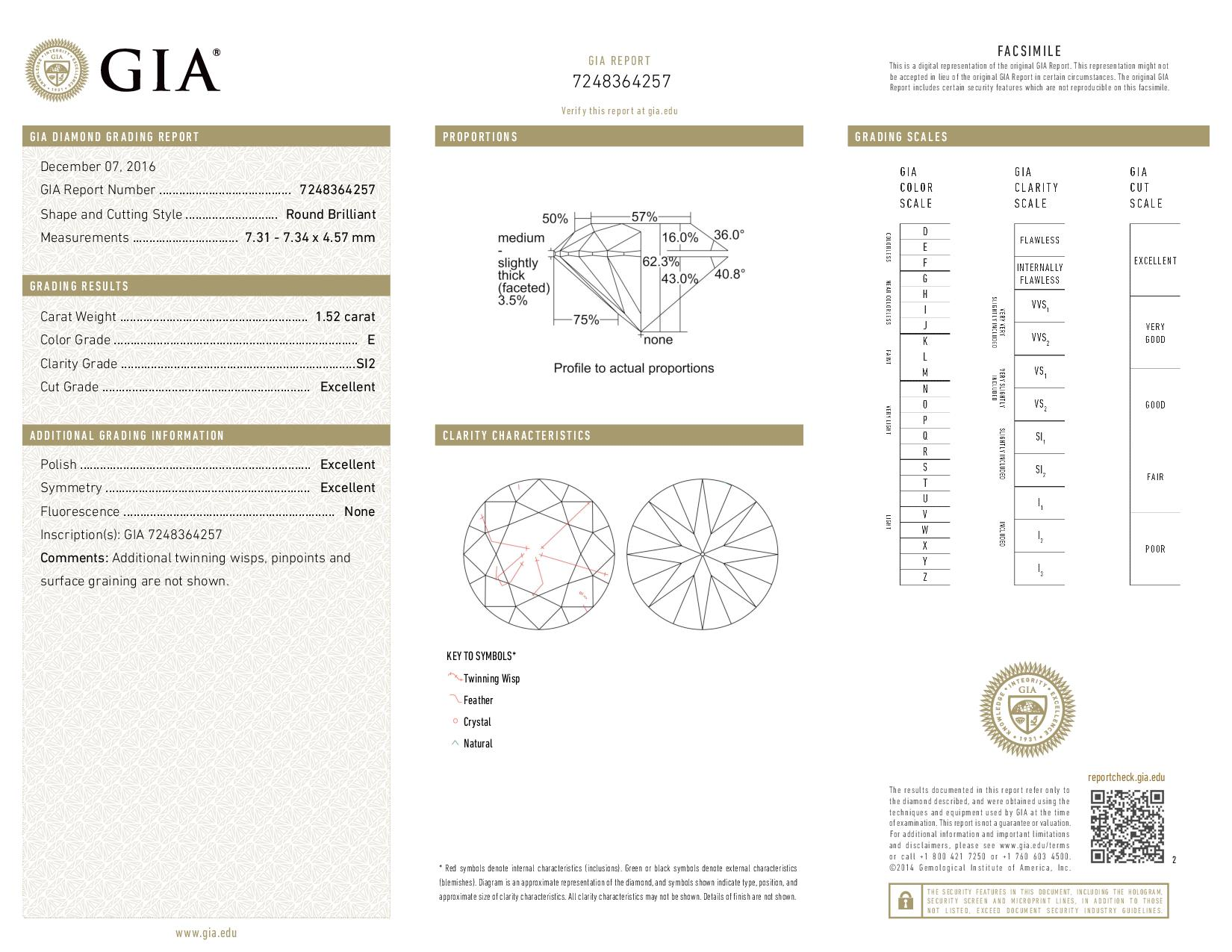 This is a 1.52 carat round shape, E color, SI2 clarity natural diamond accompanied by a GIA grading report.