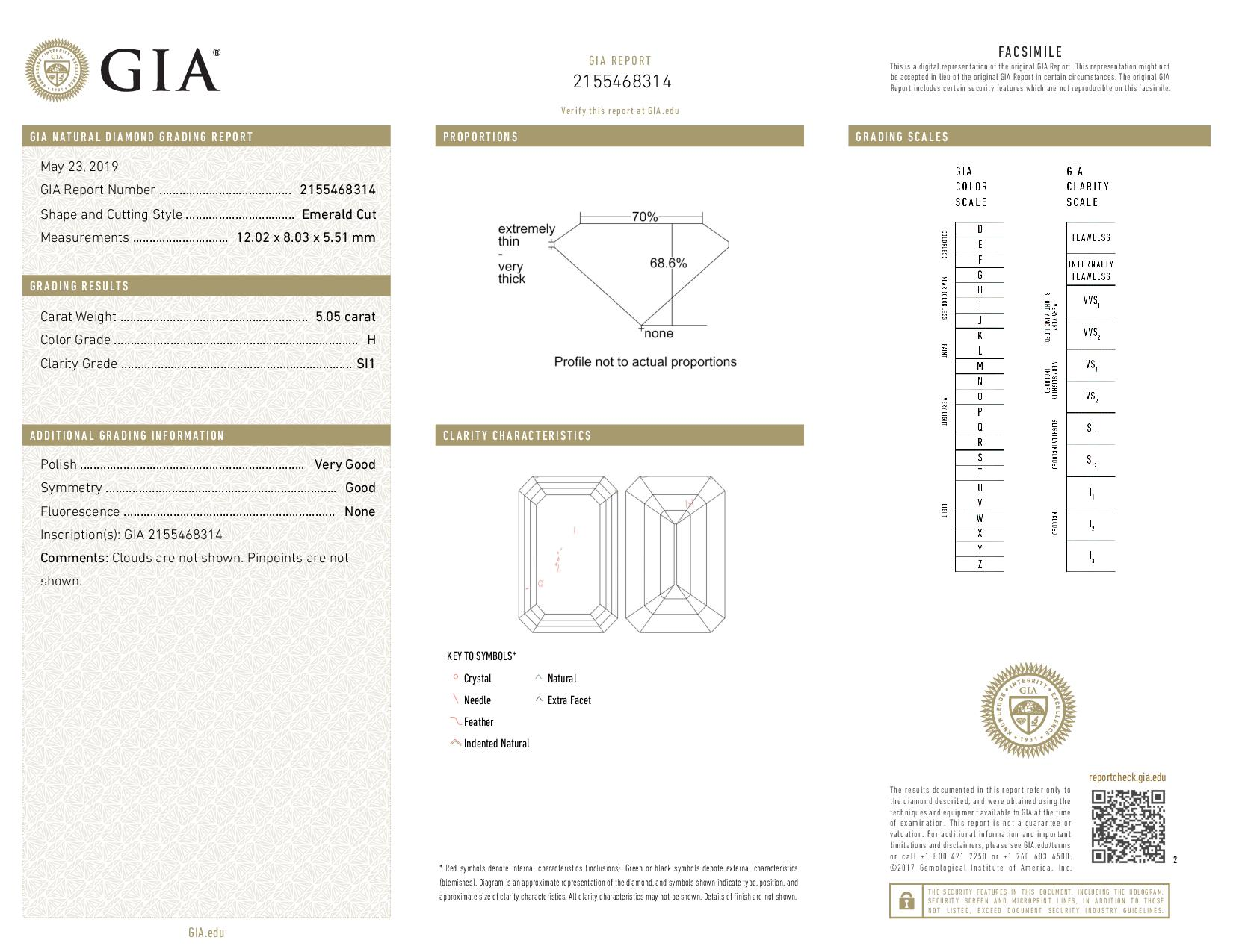 This is a 5.05 carat emerald shape, H color, SI1 clarity natural diamond accompanied by a GIA grading report.