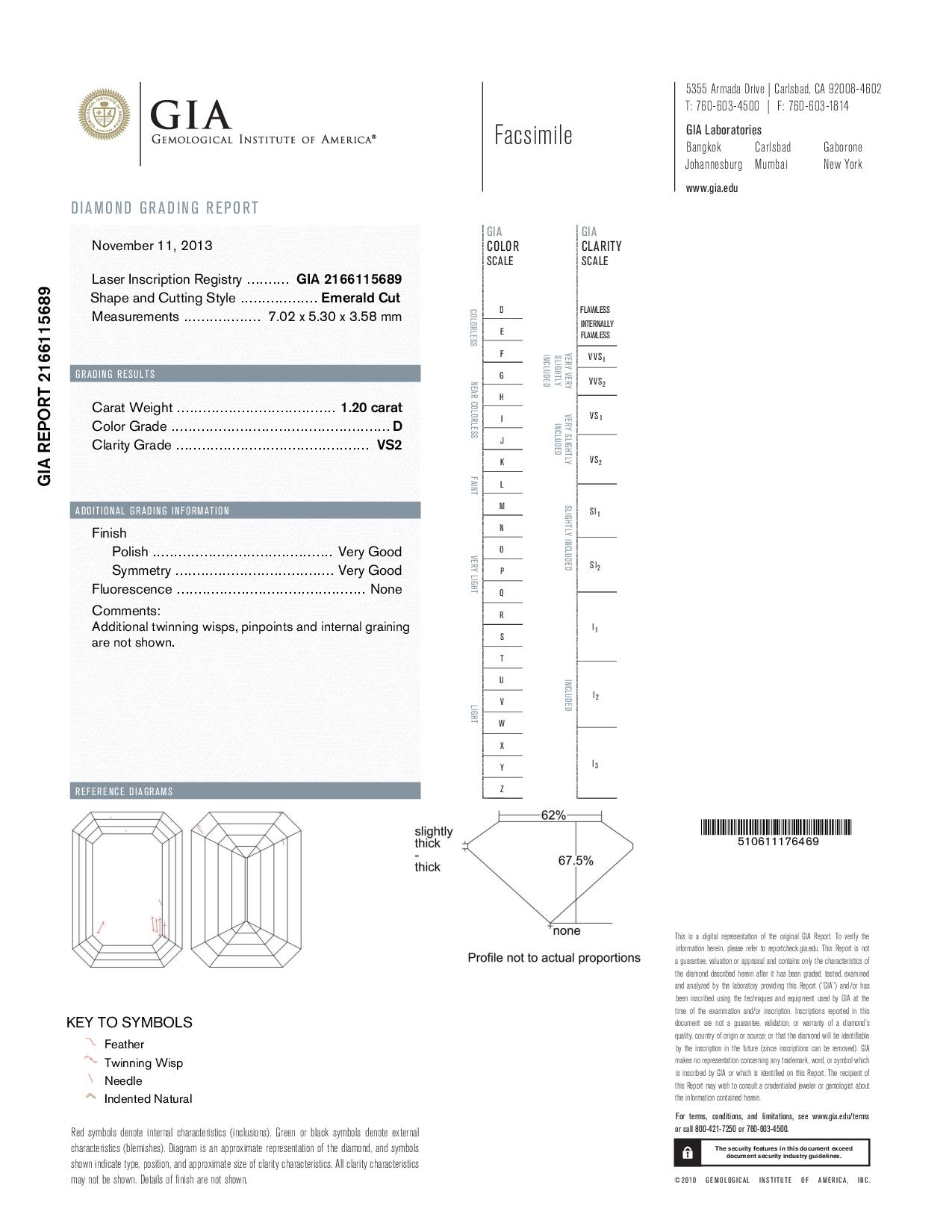 This is a 1.20 carat emerald shape, D color, VS2 clarity natural diamond accompanied by a GIA grading report.