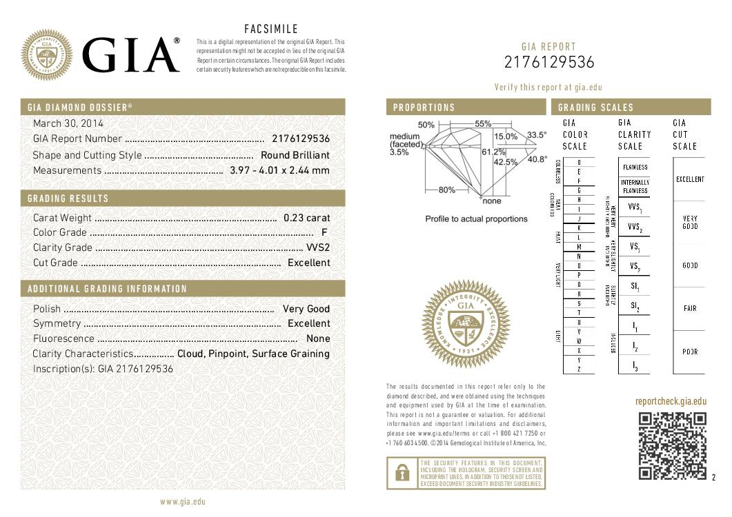 This is a 0.23 carat round shape, F color, VVS2 clarity natural diamond accompanied by a GIA grading report.