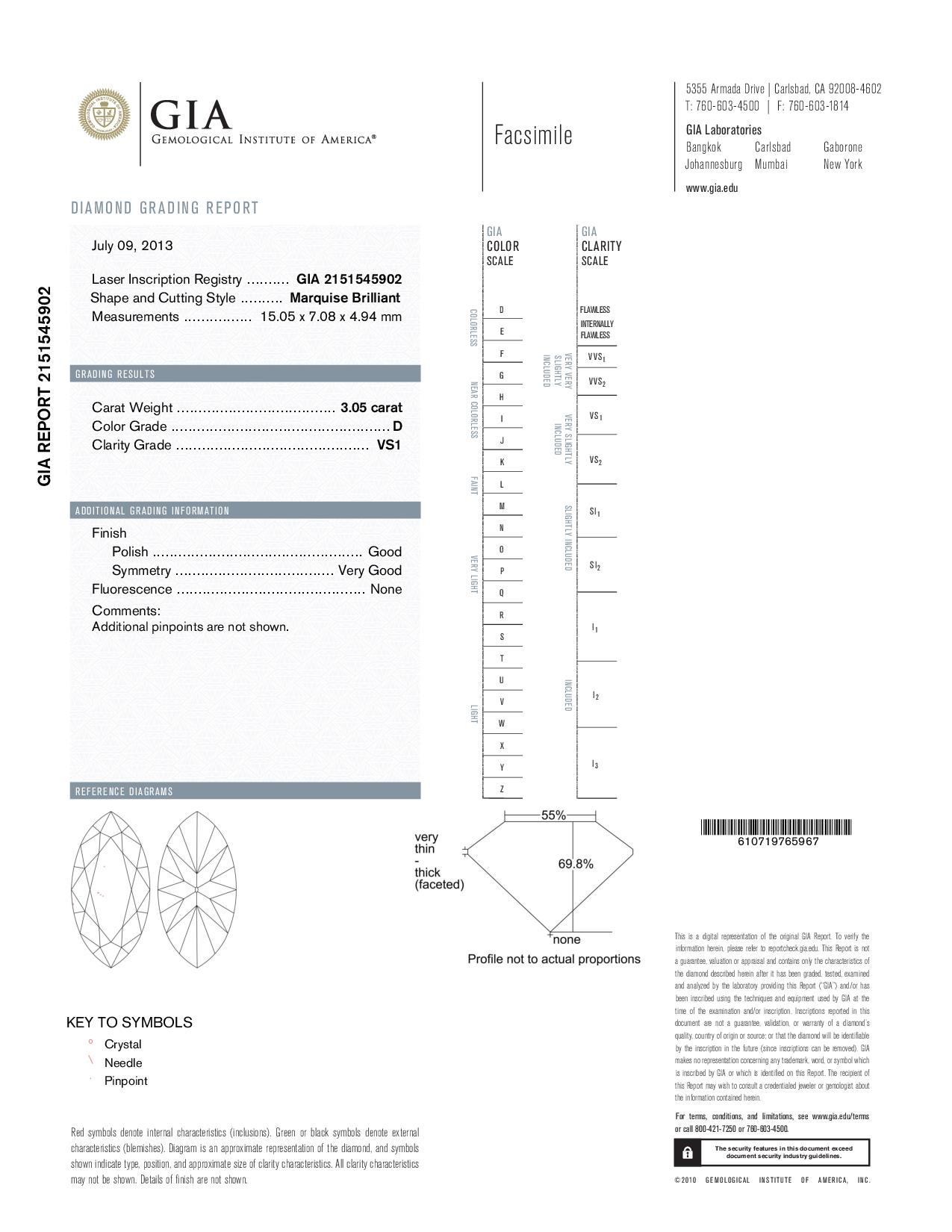 This is a 3.05 carat marquise shape, D color, VS1 clarity natural diamond accompanied by a GIA grading report.