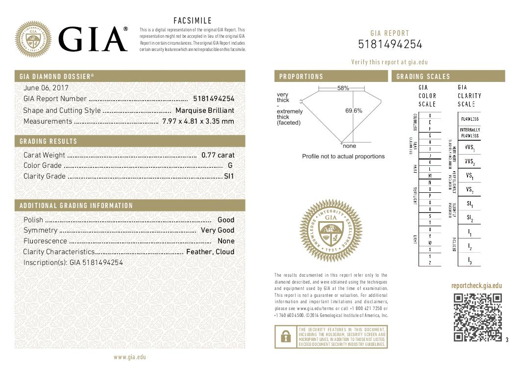 This is a 0.77 carat marquise shape, G color, SI1 clarity natural diamond accompanied by a GIA grading report.