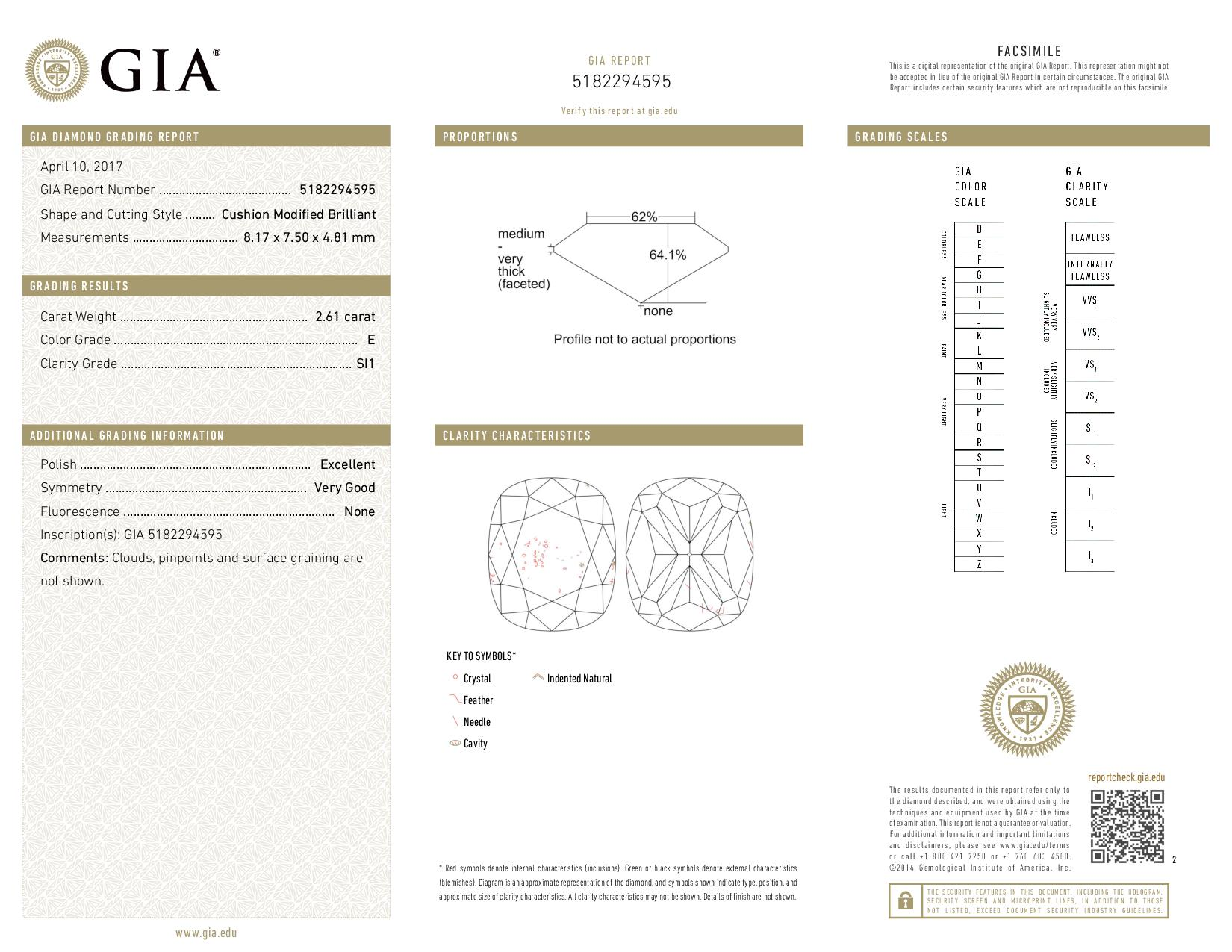 This is a 2.61 carat cushion shape, E color, SI1 clarity natural diamond accompanied by a GIA grading report.
