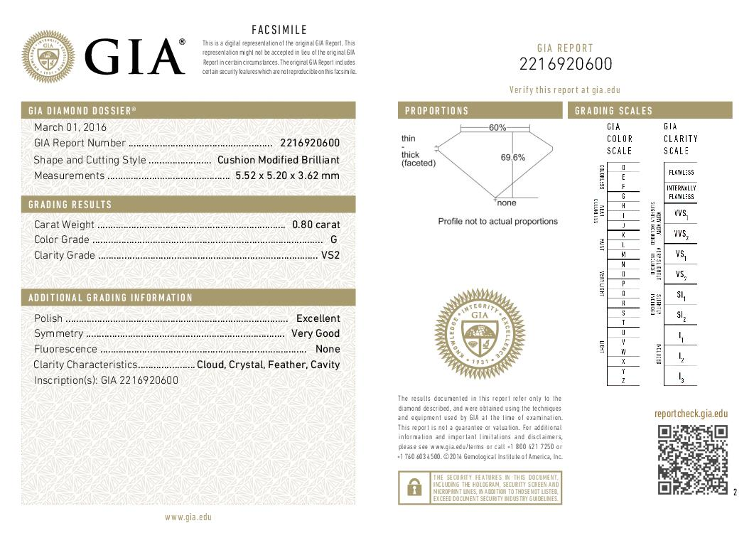 This is a 0.80 carat cushion shape, G color, VS2 clarity natural diamond accompanied by a GIA grading report.