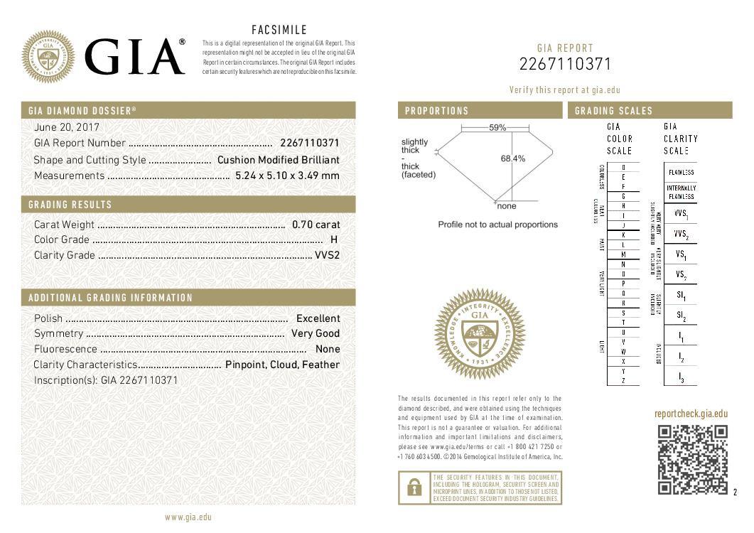 This is a 0.70 carat cushion shape, H color, VVS2 clarity natural diamond accompanied by a GIA grading report.