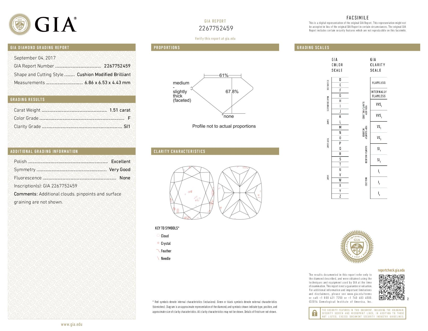 This is a 1.51 carat cushion shape, F color, SI1 clarity natural diamond accompanied by a GIA grading report.