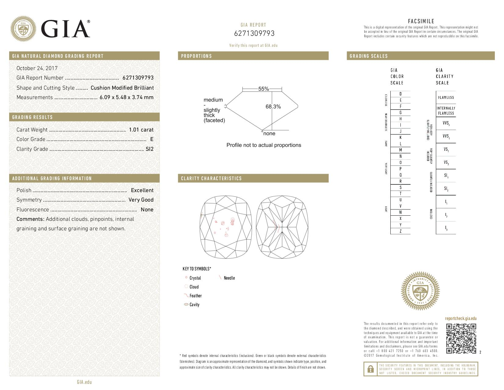 This is a 1.01 carat cushion shape, E color, SI2 clarity natural diamond accompanied by a GIA grading report.