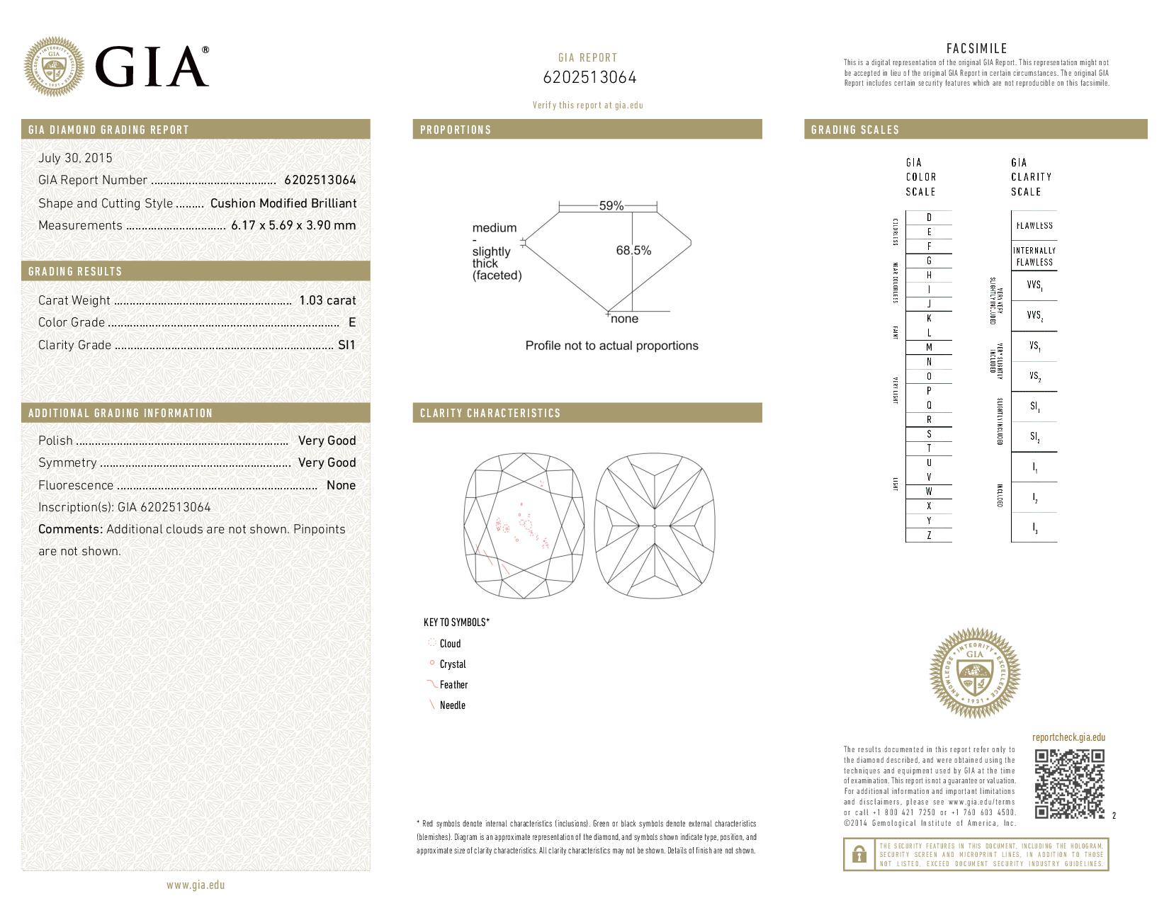 This is a 1.03 carat cushion shape, E color, SI1 clarity natural diamond accompanied by a GIA grading report.