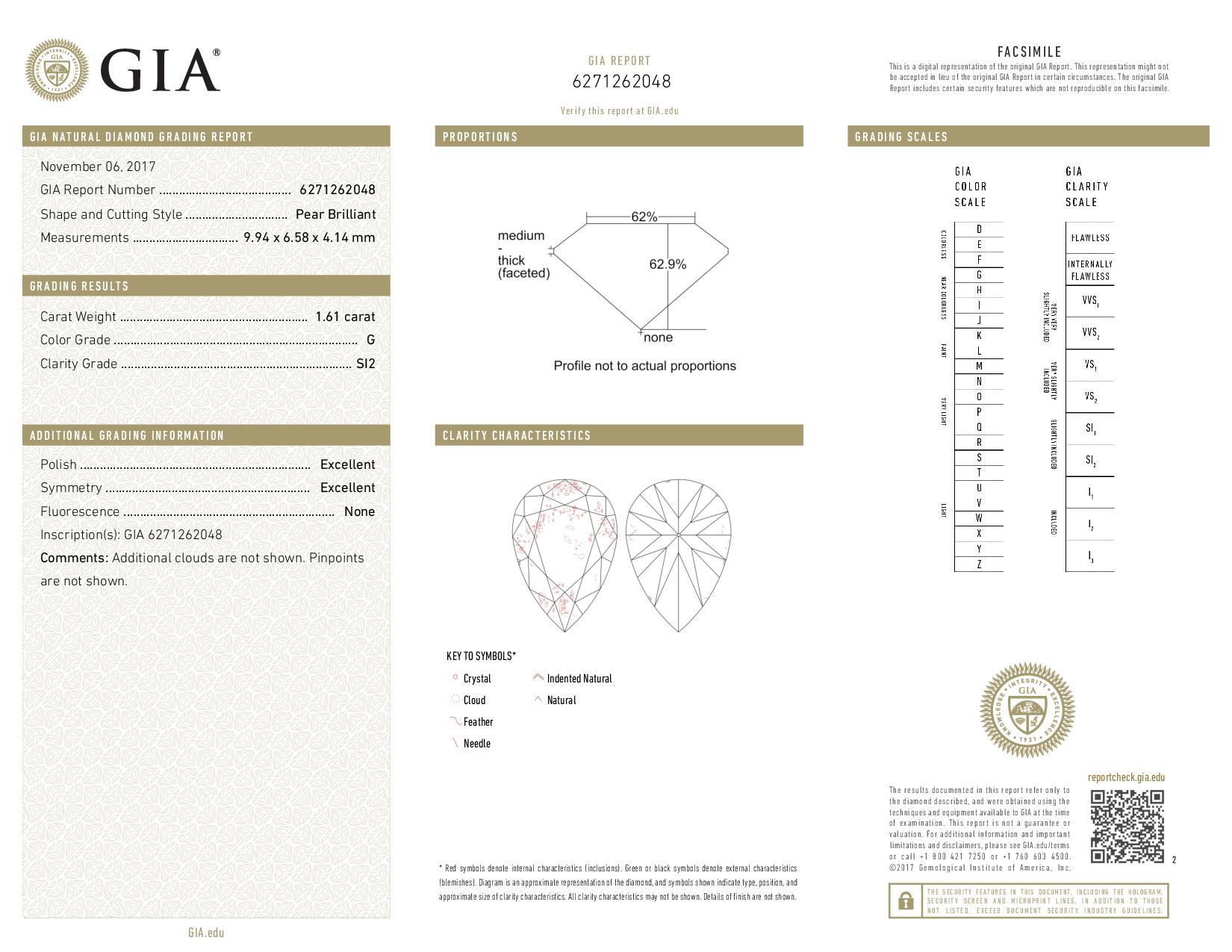 This is a 1.61 carat pear shape, G color, SI2 clarity natural diamond accompanied by a GIA grading report.