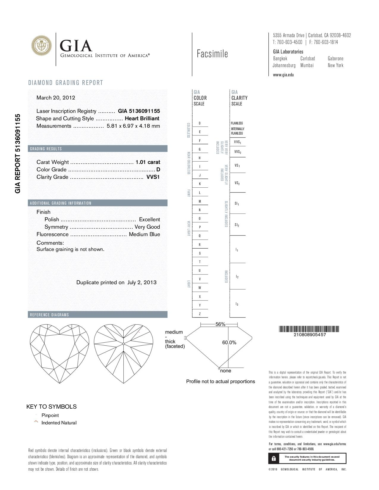 This is a 1.01 carat heart shape, D color, VVS1 clarity natural diamond accompanied by a GIA grading report.