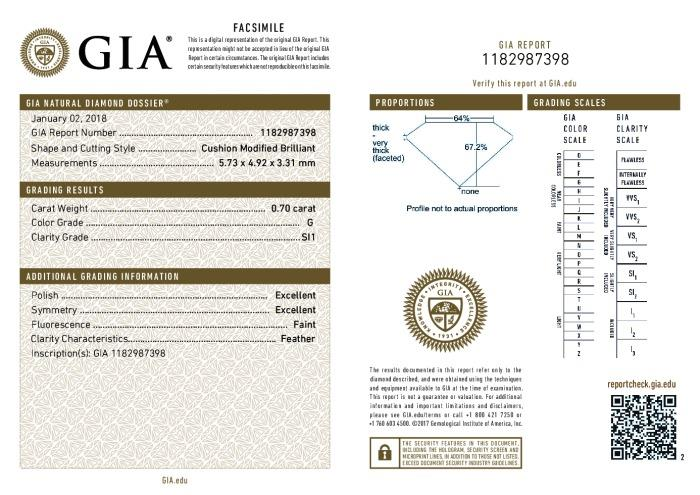 This is a 0.70 carat cushion shape, G color, SI1 clarity natural diamond accompanied by a GIA grading report.