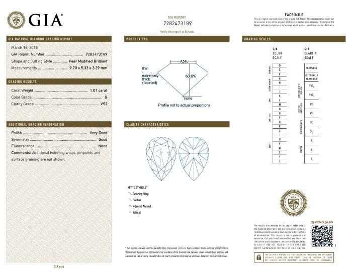 This is a 1.01 carat pear shape, G color, VS2 clarity natural diamond accompanied by a GIA grading report.
