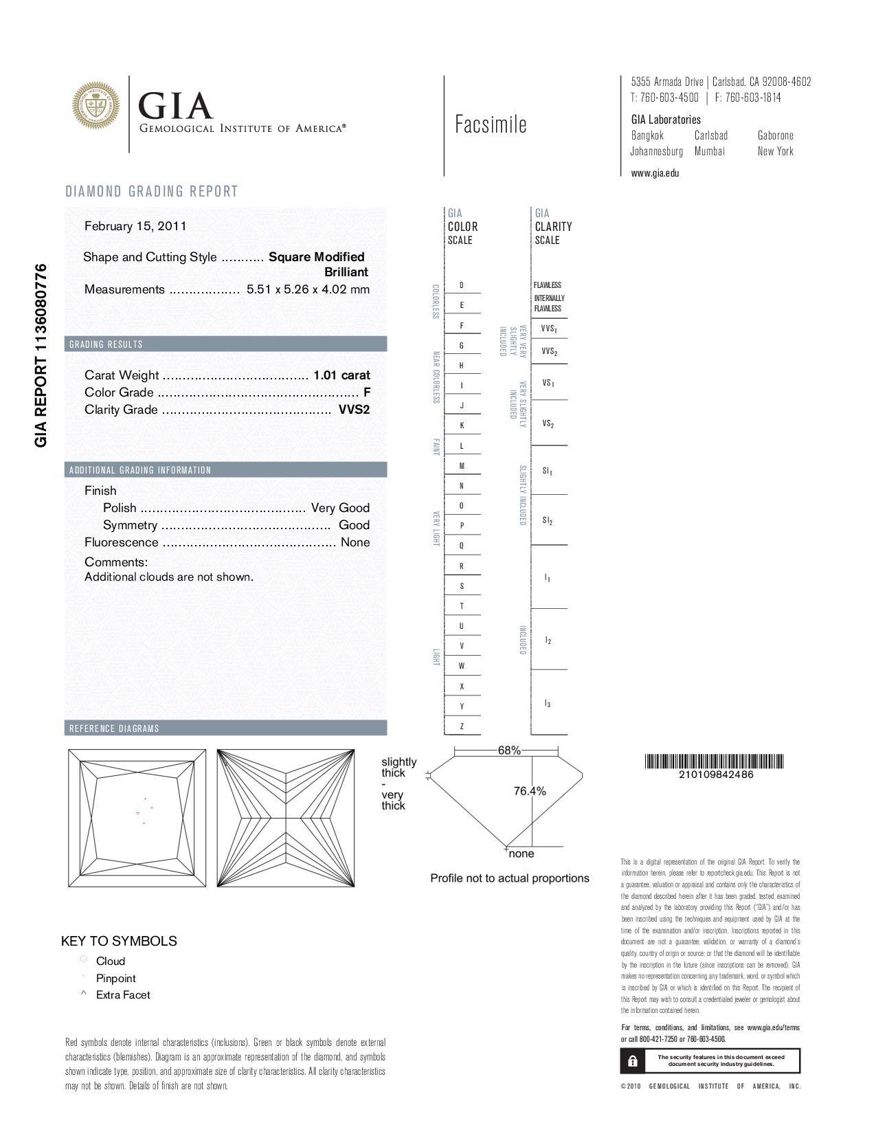 This is a 1.01 carat princess shape, F color, VVS2 clarity natural diamond accompanied by a GIA grading report.
