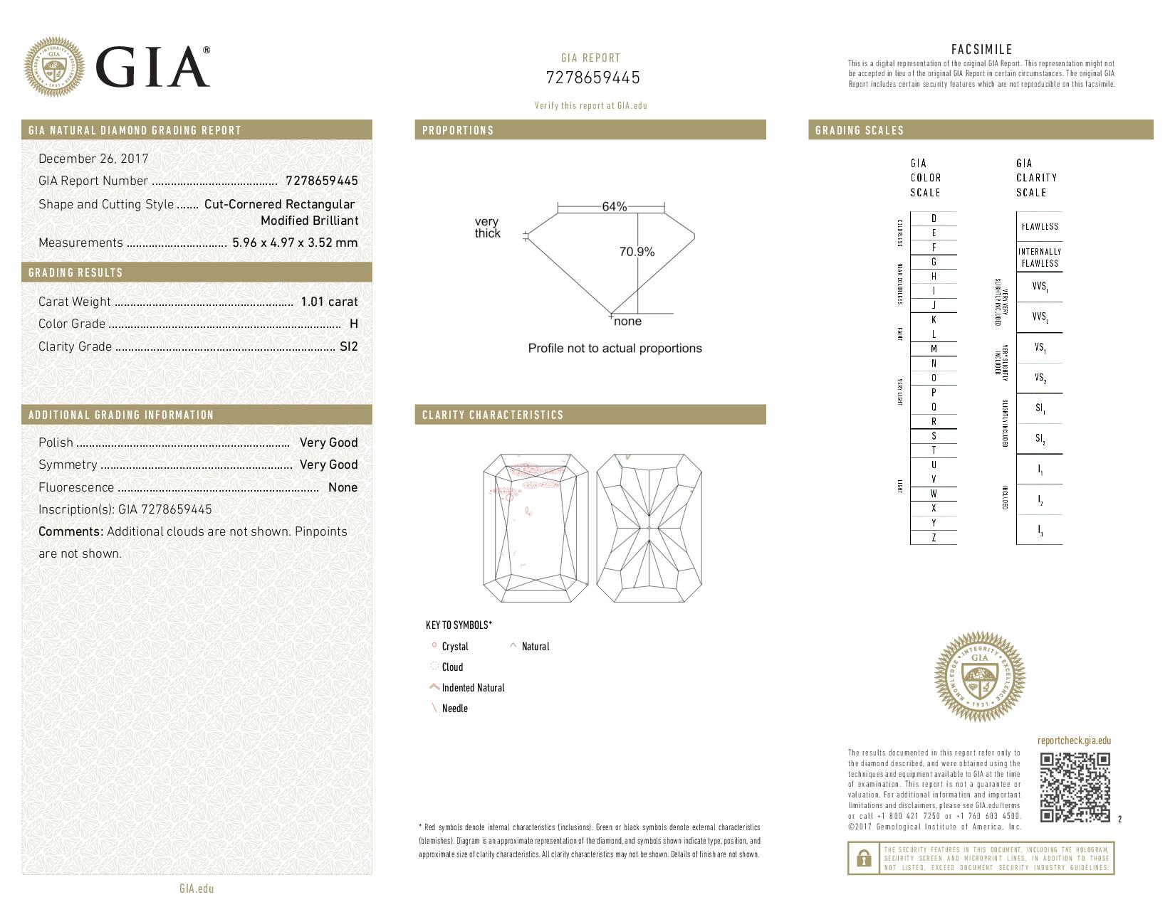 This is a 1.01 carat radiant shape, H color, SI2 clarity natural diamond accompanied by a GIA grading report.