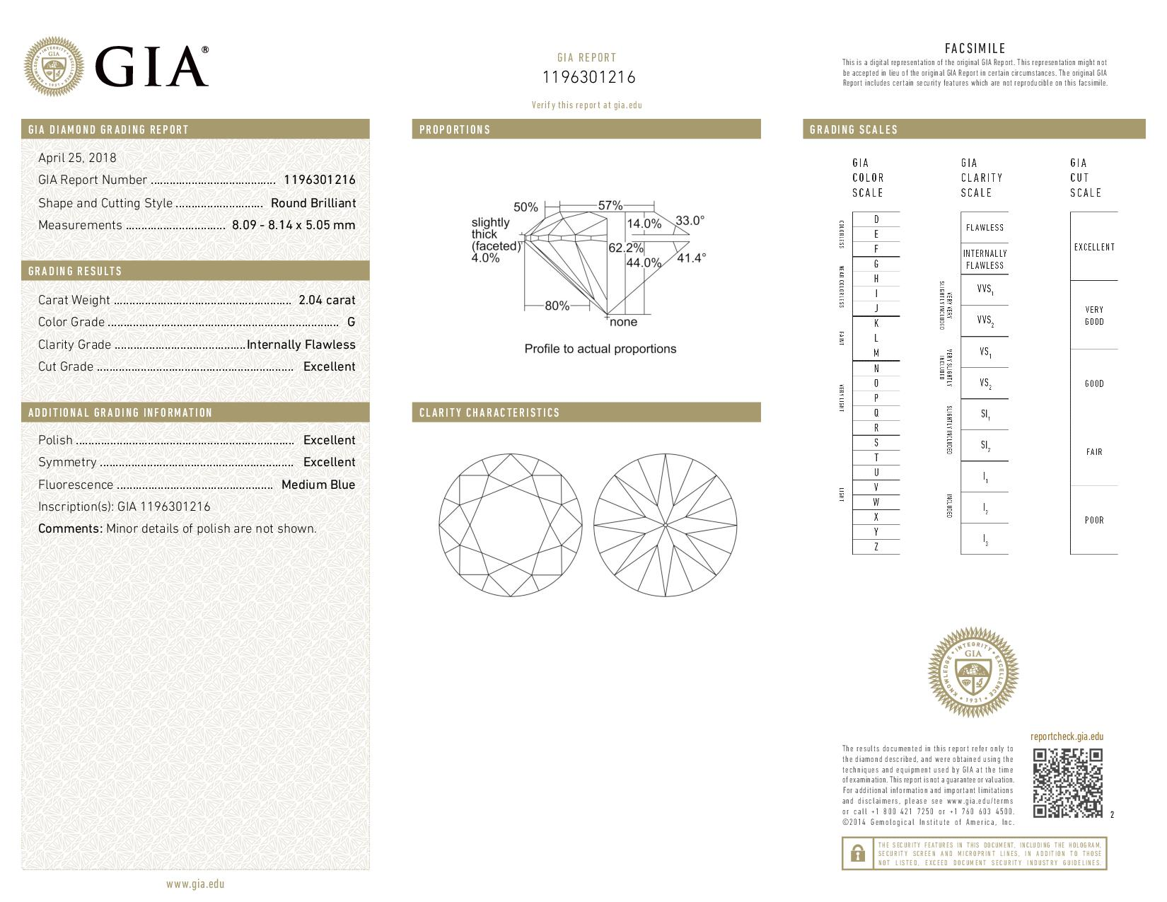This is a 2.04 carat round shape, G color, IF clarity natural diamond accompanied by a GIA grading report.