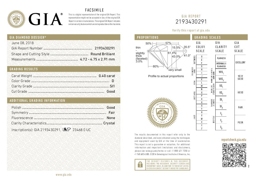 This is a 0.40 carat round shape, D color, SI1 clarity natural diamond accompanied by a GIA grading report.